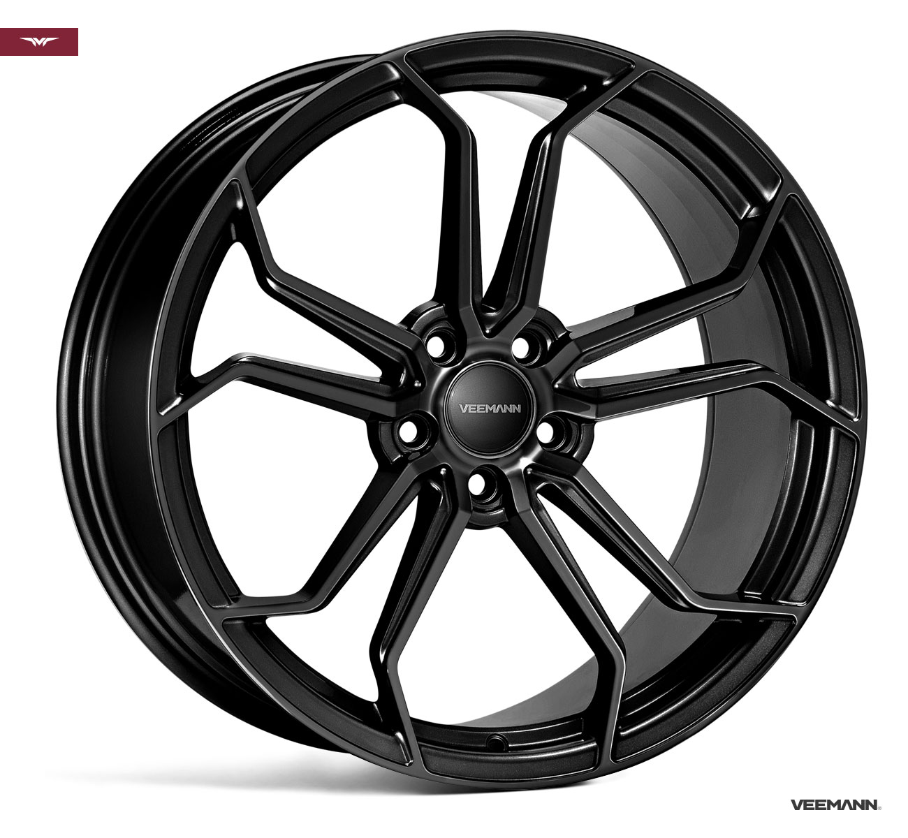 "NEW 19"" VEEMANN VC632 ALLOY WHEELS IN GLOSS BLACK WITH WIDER 9.5"" REAR"